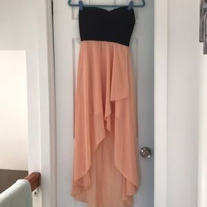 Size 10 peach/black high-low dress